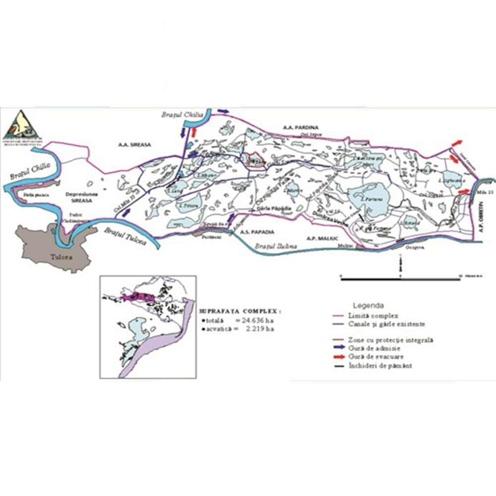 Localizarea zonei umede Şontea-Fortuna din Rezervaţia Biosferei Delta Dunării