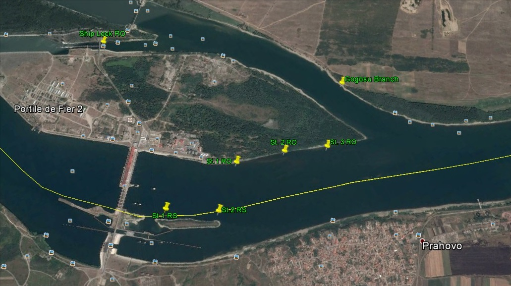 Location (yellow pins) of VR2W receivers installed on 7 - 8 April 2015 downstream the Đjerdap / Iron Gate 2 HPP, along Serbian and Romanian banks
